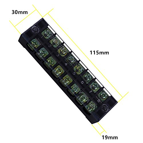 Eowpower 6Pcs 600V 25A Dual Row 8 Position Screw Terminal Strip and 6Pcs 400V 25A 8 Position Black/Red Pre Insulated Terminal Barrier Strip by Eowpower (Image #1)