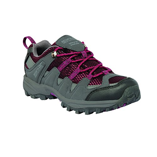 Regatta Great Outdoors - Zapatillas de senderismo de caña baja modelo Garsdale para niños/jóvenes Acero/Burdéos