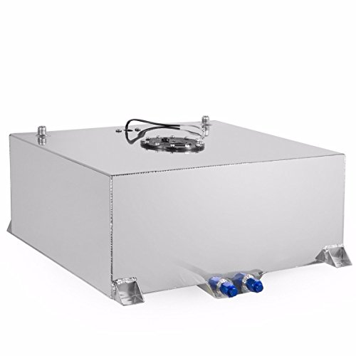 (Stark Universal 20-Gallon Aluminum Fuel Cell Tank Hot Rod Lightweight Polished Fuel Diesel Racing Street Drift DIY 20 Gal Capacity Storage)