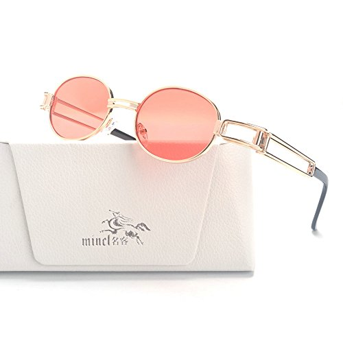 MINCL/Vintage Designer Fashion Sunglasses Oval Frame UV Protection (gold-Watermelon red, gold-Watermelon - Sunglasses Watermelon