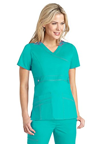 Tan Gold Flare (Adar Pop-Stretch Women's Junior Fit Taskwear Tab-Waist Crossover Scrub Top - 3200 - Sea Glass - S)
