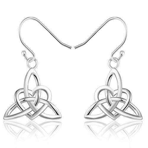 (MONBO Celtic Knot Earrings for Women Irish Triquetra Trinity Hook Earrings Girls Gift Jewelry)