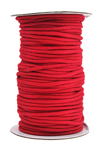(Mandala Crafts Soft Drawstring Replacement Rope Upholstery Crochet Macramé Cotton Welt Trim Piping Cord (Red, 3mm))
