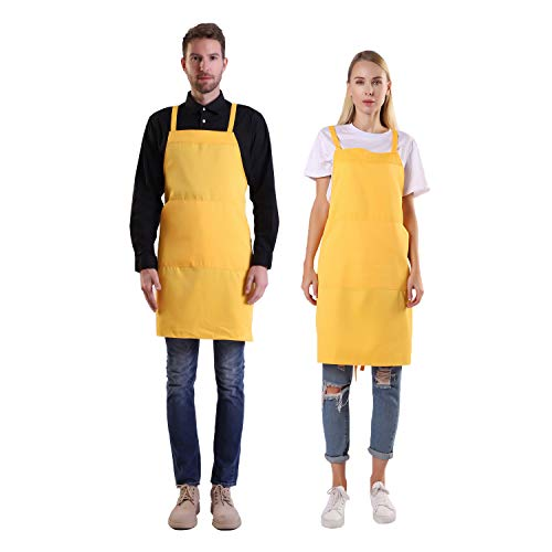 (BIGHAS Shoulder Apron with Pocket for Women, Men, Chef Adjustable Large Size Long Straps Kitchen, Home, Restaurant, Cooking, Baking 12 Colors (Yellow))