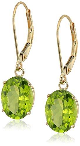 14K Gold Oval Gemstone Dangle Leverback - Gold Oval Earrings Peridot