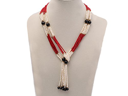 JYX Multi-strand Oval Pink Pearl and Red Round Coral and Faceted Black Agate Necklace