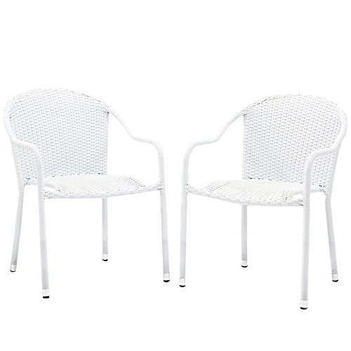 (Crosley Furniture Palm Harbor Outdoor Wicker Stackable Chairs - White (Set of 2))