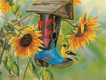 SunsOut 30672 - Grende: Vogelhaus im Gummistiefel - Puzzle 500 Teile