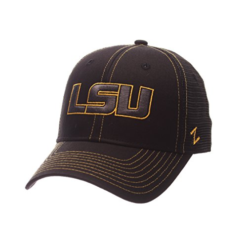 Zephyr NCAA LSU Tigers Adult Men's Staple Trucker Blackout Cap, Adjustable Size, Black (Tiger Apparel Black)