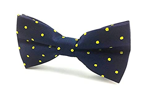 c6cf8a545f63 Image Unavailable. Mens Bow Tie Navy Blue With Yellow Polka Dots ...