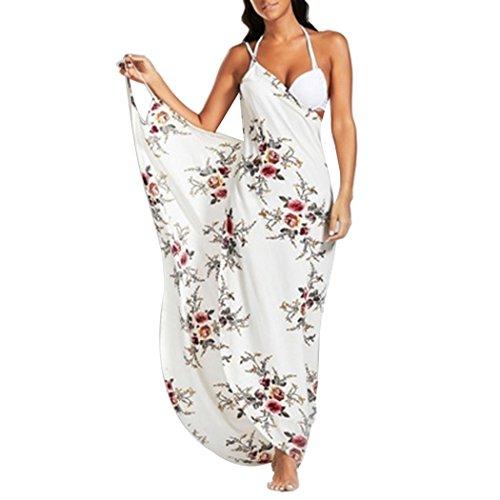 Women's Spaghetti Strap Backless Beach Dress Plus Size Floral Bikini Cover Up L White