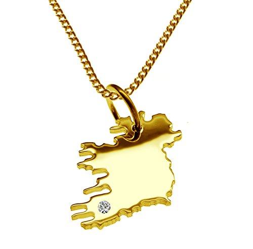 Endroit Exclusif Irlande Carte Pendentif complet avec brillant à votre Désir (Position au choix.)-avec Chaîne-massif Or jaune de 585or, artisanat Allemande-585de bijoux