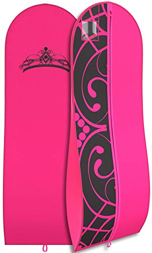 """Gusseted Gown Garment Bag for Women's Prom and Bridal Wedding Dresses - Travel Folding Loop, ID Window-72"""" x 24"""" with 10"""" Tapered Gusset - Hot Pink / Black - by Your Bags"""