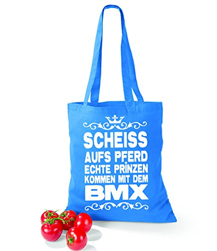 Artdiktat Baumwolltasche Scheiß auf´s Pferd - Echte Prinzen kommen mit dem BMX yellow cornflowerblue u624kYjkiz