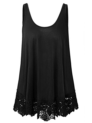 (Plus Size Swing Lace Flowy Tank Top for Women (Black, 4X))