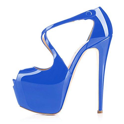 Open Toe Grande Talons Taille Bleu Sandales Chaussures Plateforme Cross Laçage Femme Escarpins Ubeauty Clair AwvPZZ