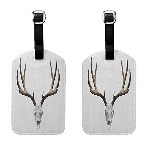Luggage ID Tag Antlers,A Deer Skull Skeleton Head Bone Halloween Weathered Hunter Collection, Warm Taupe Pale Grey Travel Identifier