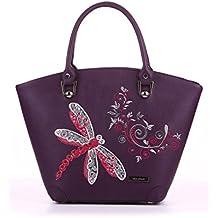 Alba Soboni Ukrainian Designed Women's PU Leather Embroidered Lady's Stylish Bag Applique Top Handle Handbag