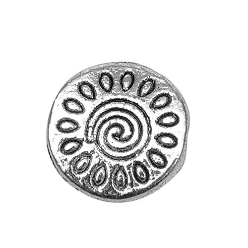 Flat Spacer Bead - Monrocco 100PCS 10X3MM Silver Tone Pattern Flat Round Beads Spacer Beads Jewelry Making Charms