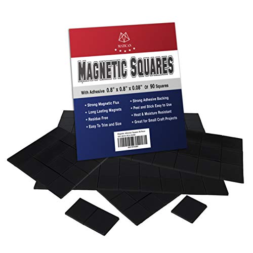 Magnetic Squares - 90-Piece Self Adhesive Magnet Squares 20x20x2mm, Stickable Magnet with Strong Adhesive Backing for DIY Craft Projects and Organizing Light Objects