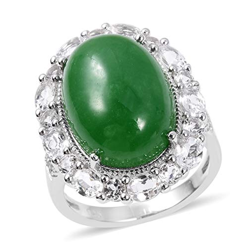 (925 Sterling Silver Cocktail Ring for Women Green Jade White Topaz Gift Jewelry Size 7 )