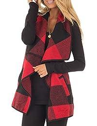 Women Vest Lapel Open Front Buffalo Plaid Sleeveless Cardigan Jacket Coat with Pockets