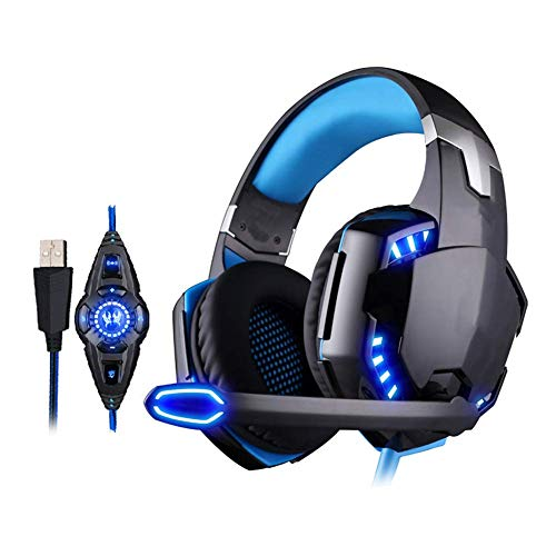 Wired Headphones, USB Head-Mounted Gaming Headset with Rotatable Noise Reduction Mic And Volume Control for PS4…