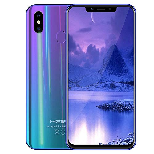 Choosebuy Fingerprint Unlocked Cell Phones, 6.18inch Dual SIM HD Camera FHD+ Screen Smartphone Android 8.1 WiFi Octa-Core 4G GPS Beauty Function Call Mobile Phone 4GB+32GB (Purple) (Boost Mobile Cell Phones For Sale)
