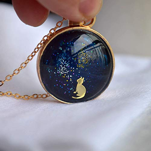 Charm Cat Glass - Cat Starry Sky Pussy Glass Floating Locket Pendant 18k Gold Plated Chain Necklace