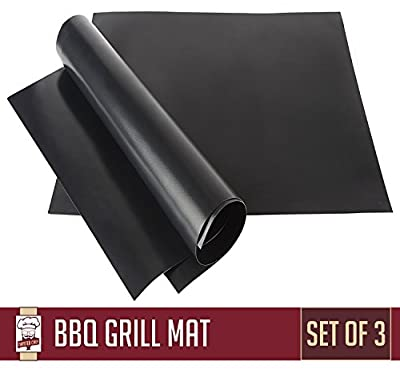 Nonstick BBQ Grill Mat - Perfect for Charcoal, Electric and Gas Grill - Reusable, Easy to Clean - Set of 3 Mats - Essential Grilling Accessories for Home Cooks and Grillers