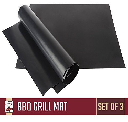 Nonstick BBQ Grill Mat - Perfect for Charcoal, Electric and Gas Grill - Reusable, Easy to Clean - Set of 3 Mats - Essential Grilling Accessories for Home Cooks and Grillers (Grill Mat compare prices)