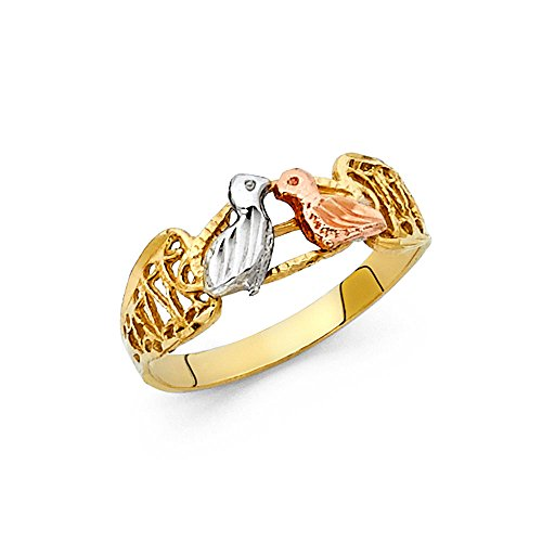 Solid 14k Yellow White Rose Gold Love Birds Ring Two Birds Kiss Band Filigree Tri Color 7MM, Size 7