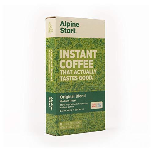Alpine Start Premium Instant Coffee, Original Blend, Medium Roast |8 servings | .88 Ounces | Single Packets | Dairy Free | Gluten-free | Vegan | Vegetarian | Keto