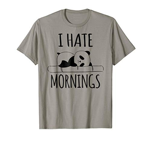 I Hate Mornings Panda Bear Shirt Funny Cute Night Owl PJ Tee