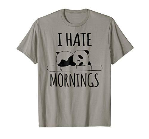 I Hate Mornings Panda Bear Shirt Funny Cute Night Owl PJ Tee ()
