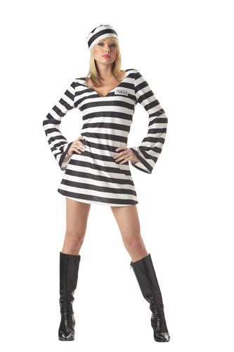 California Costumes Men's Convict Chick Costume, Black/White, (Prisoner Halloween Costume Accessories)