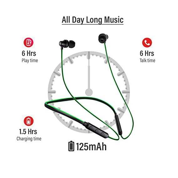 pTron Tangent Lite Bluetooth 5.0 Wireless Headphones with Hi-Fi Stereo Sound, 6Hrs Playtime, Lightweight Ergonomic Neckband, Sweat-Resistant Magnetic Earbuds, Voice Assistant & Mic - (Black & Green)