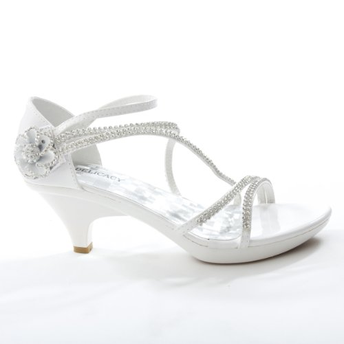 Delicacy Womens ANGEL48 Open Toe Rhinestones Med Low Heel Party Sandal, WHITE PU Leather, 9 B (M) US