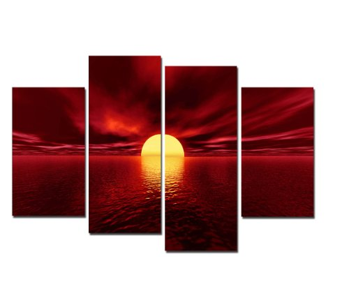 (Wieco Art Giclee Canvas Prints Wall Art Red Sea Pictures Sun Paintings Ready to Hang for Living Room Bedroom Home Decorations Modern 4 Piece Large Stretched and Framed Seascape Ocean Beach Artwork L)
