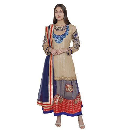 PinkShink Beige and Blue Net Anarkali Kurta Churidar Dupatta Set su08 (M)