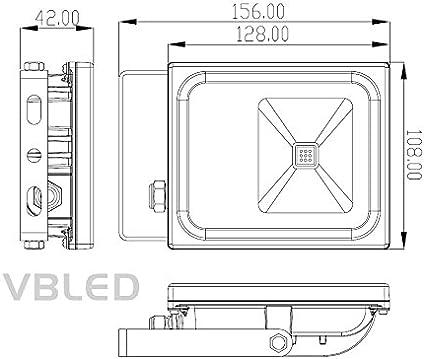 Neutralwei/ß 4000-4500K 750 Lumen IP65 Wassgesch/ützt 230 Volt Fluter//Wandstrahler f/ür Innen- und Au/ßen VBLED/® 10W Flutlicht//LED-Scheinwerfer Flach