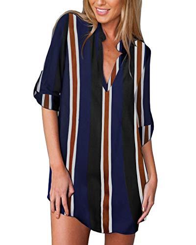 ZANZEA Women's V-Neck Long Sleeve Loose Shirt Floral Print Blouse Tops