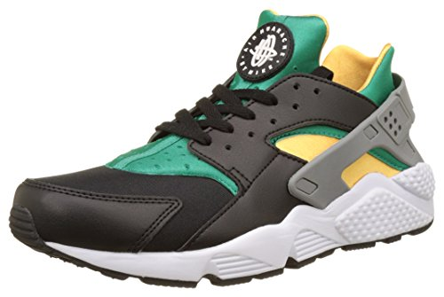 Nike Men's Air Huarache Black/White/Emerald/Resin Running Shoe (9)