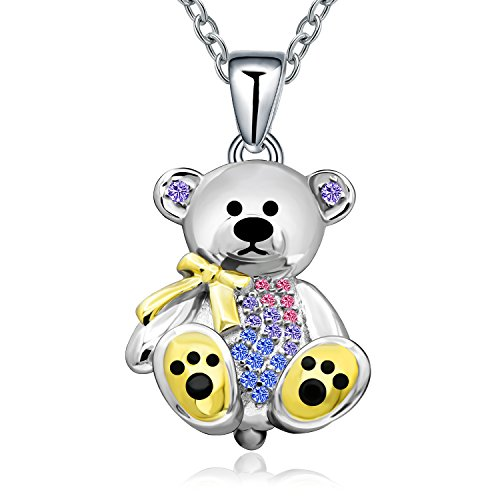 Sterling Silver Bear Teddy Solid (MONBO Sterling Silver Gift Teddy Bear Pendant Necklace Crystal Cute Animal Bear Gift Jewelry Necklace for Women Girl,Birthday, Love,Apology,Party (Multi-Colored))