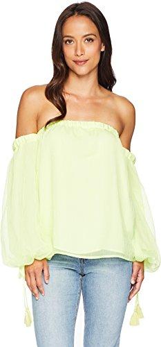 Vince Camuto Womens Off-Shoulder Bubble Sleeve Sheer Stripe Blouse Soft Kiwi (Vince Sheer)