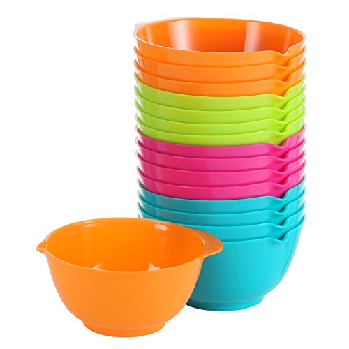Mini Set Meal (Small Cooking Prep Bowls, 5 Oz - Set Of 16 - Pink, Green, Blue & Orange | Nesting Plastic Finger Mixing Bowls - Mini Kitchen Mise En Place Dishes For Ingredients, Condiments, Sauces, Spices BPA Free)