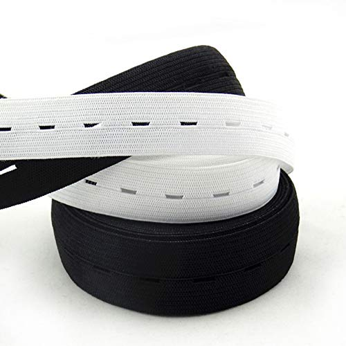 Buttonhole Elastic 3//4 Black or 13//16 White  5 yds Waistband Extender NEW