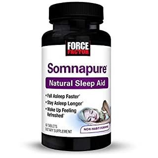Somnapure Natural Sleep Aid with Melatonin, Valerian, & Chamomile, Non-Habit-Forming Sleeping Pill, Fall Asleep & Stay Asleep, Wake Up Refreshed, Force Factor, 60 Tablets (Packaging May Vary)