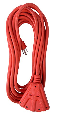 Heavy Vinyl Duty Extension Cord (Bergen Industries Inc  OC251433T  Heavy-Duty Outdoor Triple Tap Extension Cord, 25 ft, 14 AWG, 15A/125V AC)