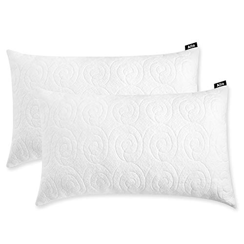 Allo Shredded Memory Foam Pillow Standard Size, Bed Pillows for Sleeping with Adjustable Loft Design Bamboo Pillow with Washable Breathable Zip Cover Hypoallergenic Cross-Cut Memory Foam Fill - 2 Pack